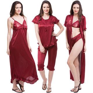 6889c1194b Buy Fasense Exclusive Women Satin Maroon Nightwear (6 Pcs Set ...