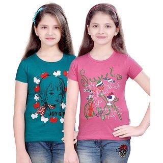SINIMINI GIRLS FASHIONABLE TOP ( PACK OF 2 )SMH600_TBLUE_MPINK