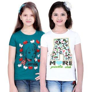 SINIMINI GIRLS FASHIONABLE TOP ( PACK OF 2 )SMH600_TBLUE_WHITE