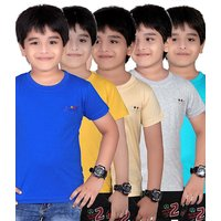 DONGLI SOLID BOY'S ROUND NECK T-SHIRT (PACK OF 5)DL450_RBLUE_GYELLOW_BEIGE_WM_TB