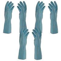 Primeway Rubberex Flocklined Rubber Hand Gloves, Medium, Set of 3 Pairs, Blue