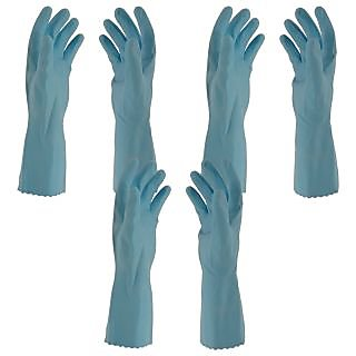 Primeway Rubberex Flocklined Rubber Hand Gloves, Medium, Set of 3 Pairs, Blue