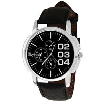 Skybird Round Dial Black Leather Strap Quartz Watch For