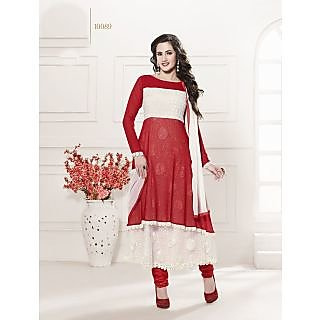 Thankar Heavy Floor Length Red And White Anarkali Suit