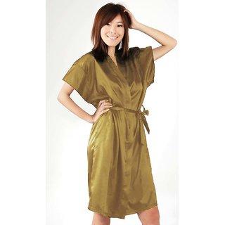 Anangee Satin Sleepwear Kimono Gold