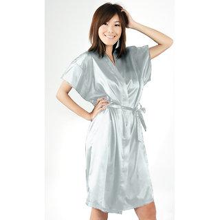 Anangee Satin Sleepwear Kimono Sky Blue
