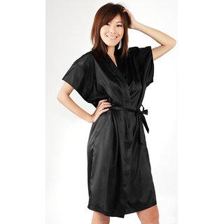 Anangee Satin Sleepwear Kimono Black