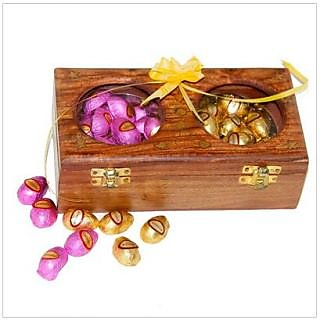 Almonds And Cashewnut In Milk Chocolate With A Wooden Box