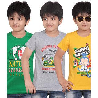DONGLI PRINTED BOYS ROUND NECK T-SHIRT(PACK OF 3)DLH439_GREEN_WMELANGE_GYELLOW