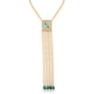Hsk Blue Kundan Pendant Necklace Brass Fashion Jewelry for women