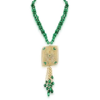 Hsk Grey Kundan Fashion Brass Pendant Necklace For Women