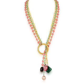 Hsk pink jade flowy Fashion Brass necklace For Women
