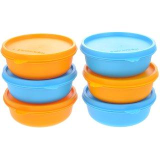 Herware Kitchen Storage Airtight Container Microwave/Fridge Safe Lunch Tifin 6x450ml