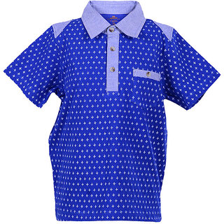 Boys Red Half Sleeve Cotton Pique Polo With Cut And Sew Panel