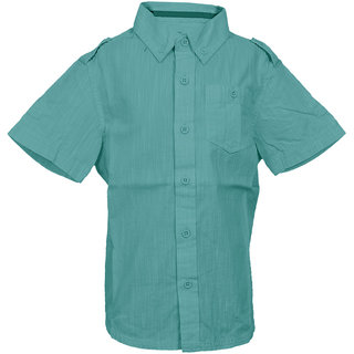Boys Dk Green Full Sleeve Cotton Filafil Stand Collar Shirt With Pin Tucks