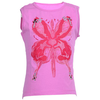 Girl`S Yellow Sleeve Less Cotton Single Jersey Collar Tee With Flower Print