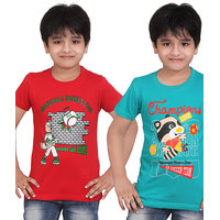 DONGLI PRINTED BOYS ROUND NECK T-SHIRT ( PACK OF 2 )-DLH442_RED_TBLUE