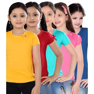 SINIMINI GIRLS PLAIN TOP ( PACK OF 5 )-SM300_GYELLOWUN_REDPOONK_TBLUE_MPINK_RB