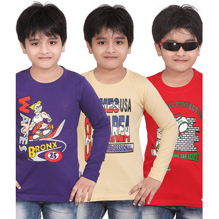 Dongli Printed Boy's Round Neck T-Shirt (Pack of 3)DLF443-PURPLE_BEIGE,RED
