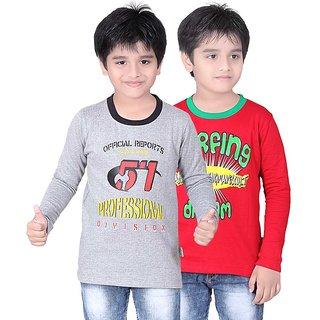 DONGLI BOYS SWEATSHIRT T-SHIRT ( PACK OF 2 )DLLNF500_16_5_WMELANGE_RED