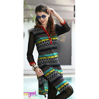 Cotton Printed Black Kurti