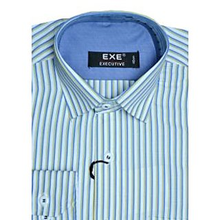Exe Yellow /Blue/ White Full Sleeve Men's Shirt
