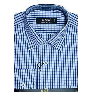 Exe White / Navy Blue  Full Sleeve Men's Shirt