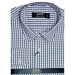 Exe White / Black Full Sleeve Men's Shirt