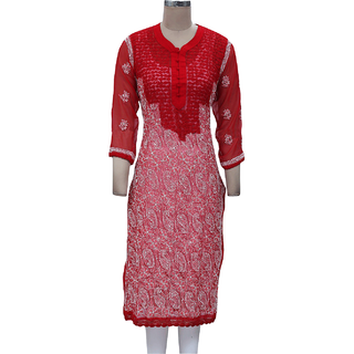 Lucknowi Chikan Embroidered Long Kurti, Kurtis Long Top / Salwar Kameez Suit Red