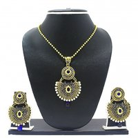 Zaveri Pearls Traditional Simple Blue Pendant Set for Women-ZPFK2060