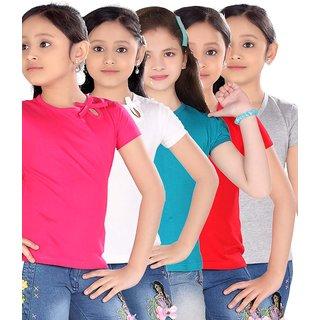 SINIMINI GIRLS PLAIN TOP ( PACK OF 5 )SM300_RPINK_WHITEPOONK_PETROL_REDUN_WM
