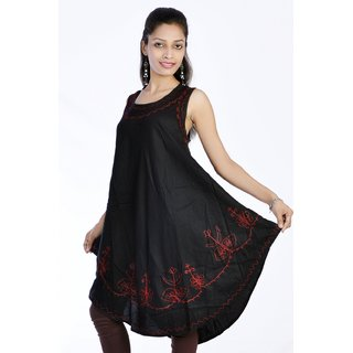Women Stylish Cut Sleeves Pure Rayon Black Color Kurti Top Tunic