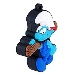 Microware Designer Fancy The Smurfs With Wood Shape 4Gb Pen Drive JKL15