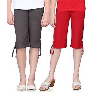 SINIMINI GIRLS COLORFUL CAPRI ( PACK OF 2 )SMPC200_DGREY_RED