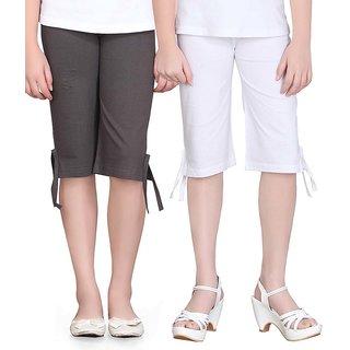 SINIMINI GIRLS COLORFUL CAPRI ( PACK OF 2 )-SMPC200_DGREY_WHITE