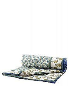 Krg Enterprises Jaipuri Singles Cotton Printed Quilt/ Razai in Mogul design - White / Blue Combo