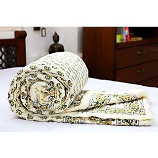 Krg Enterprises Doubles Cotton Printed Quilt In Mogul Design - Green & Yellow
