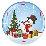 Zeeshan Snow Man With Gifts Printed Wall Clock