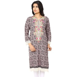 Akshiti Grey Printed Cotton Kurti With Embroidery