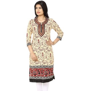 Akshiti Beige Printed Cotton Kurti With Embroidery