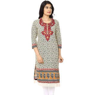 Akshiti Printed Cotton Kurti With Embroidery