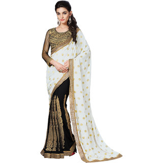 YSK White Black Wedding Saree Georgette Viscose Embroidery Border Indian Sari