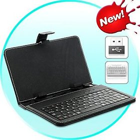 Leather Keyboard Case for 7 Inch Android Tablet Pc Micromax Funbook Talk P350