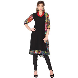 Black Faux Georgette Unstitched salwar suit with dupatta (20111)