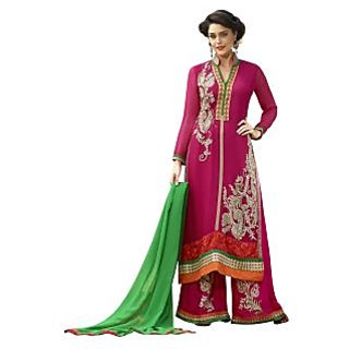 Vibes Fashionable Georgette Unstiched Dress Materials,Free Size,Red,V10047