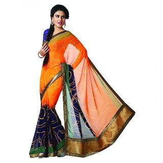 Bhavi Printed Faux Georgette Sari with Border (BHR2514)