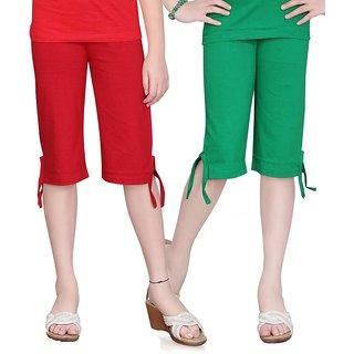 SINIMINI GIRLS COLORFUL CAPRI ( PACK OF 2 ) -SMPC200-RED-GREEN
