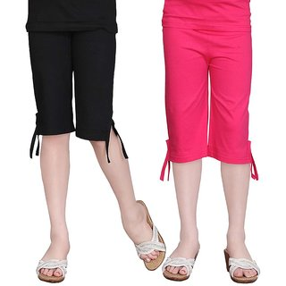 SINIMINI GIRLS COLORFUL CAPRI ( PACK OF 2 ) -SMPC200-RPINK-BLACK