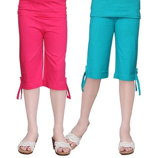 SINIMINI GIRLS COLORFUL CAPRI ( PACK OF 2 ) -SMPC200-RPINK-TBLUE