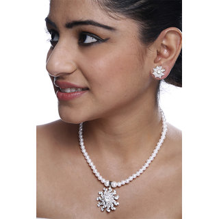 Pearl Necklace With Silver Pendent White Crystals And Earrings GLITZY BY ROOHIE